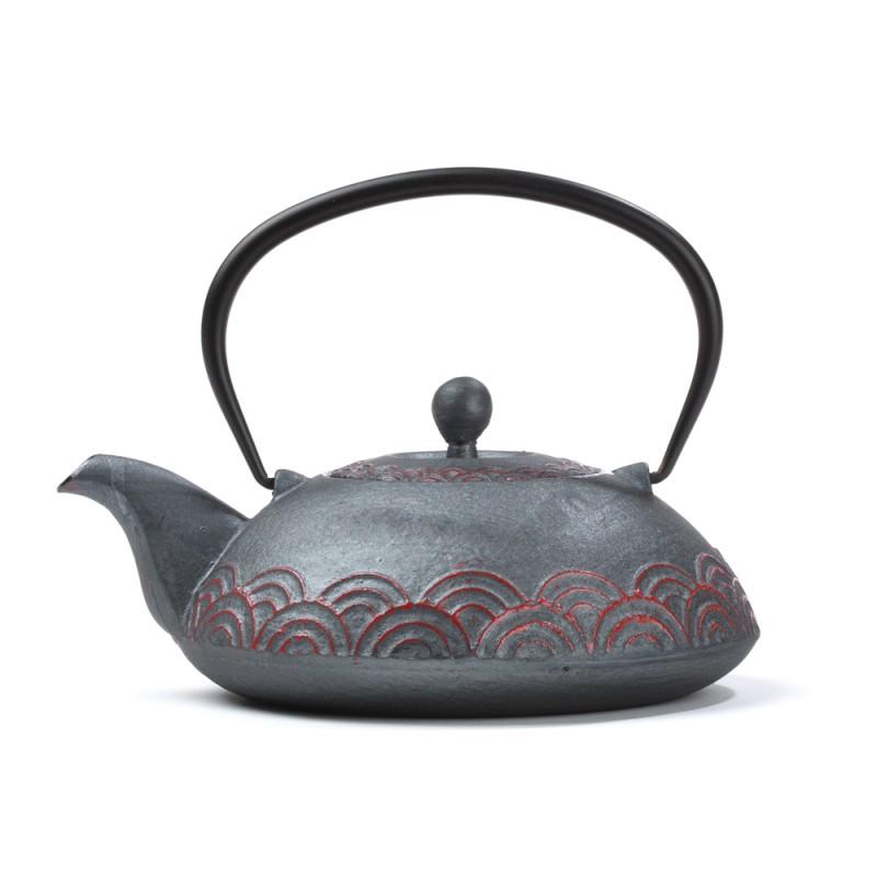 Kitajski litoželezni čajnik FAN, siv z rdečim vzorcem