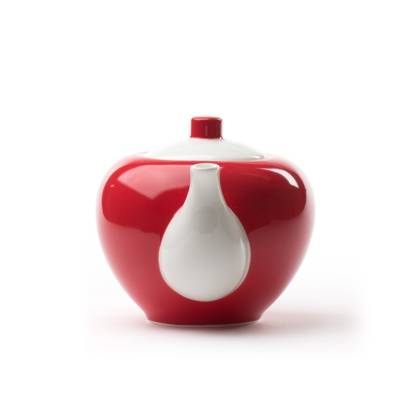 Porcelanski čajnik Five O'Clock, belo-rdeč