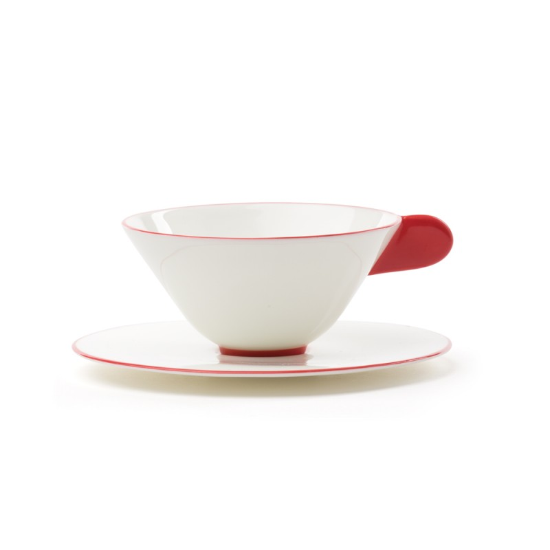 Porcelanska skodelica Five O'Clock, belo-rdeča
