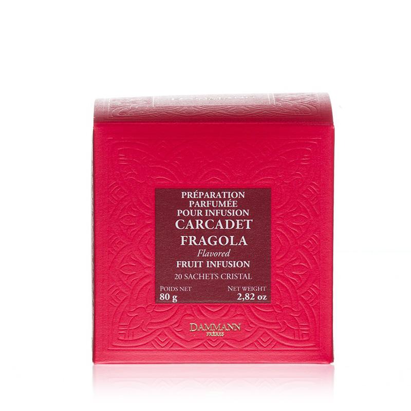 Sadni čaj Dammann Carcadet Fragola, 20 kristalnih vrečk