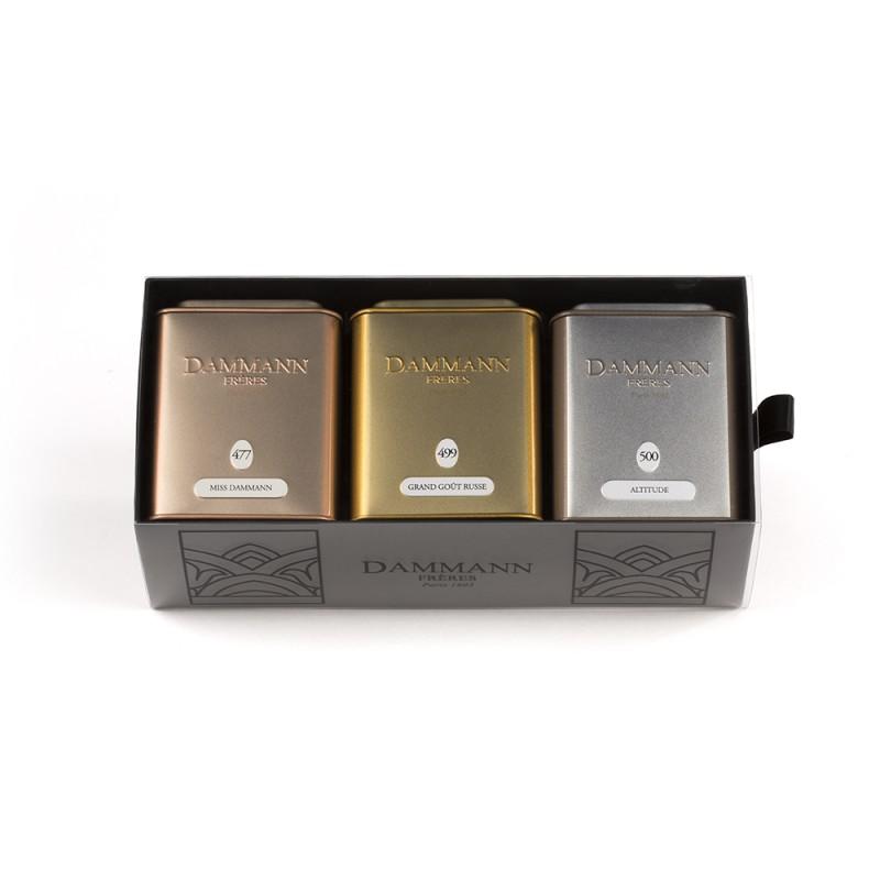 Komplet treh zelenih čajev v pločevinkah Damman Coffret Trésor