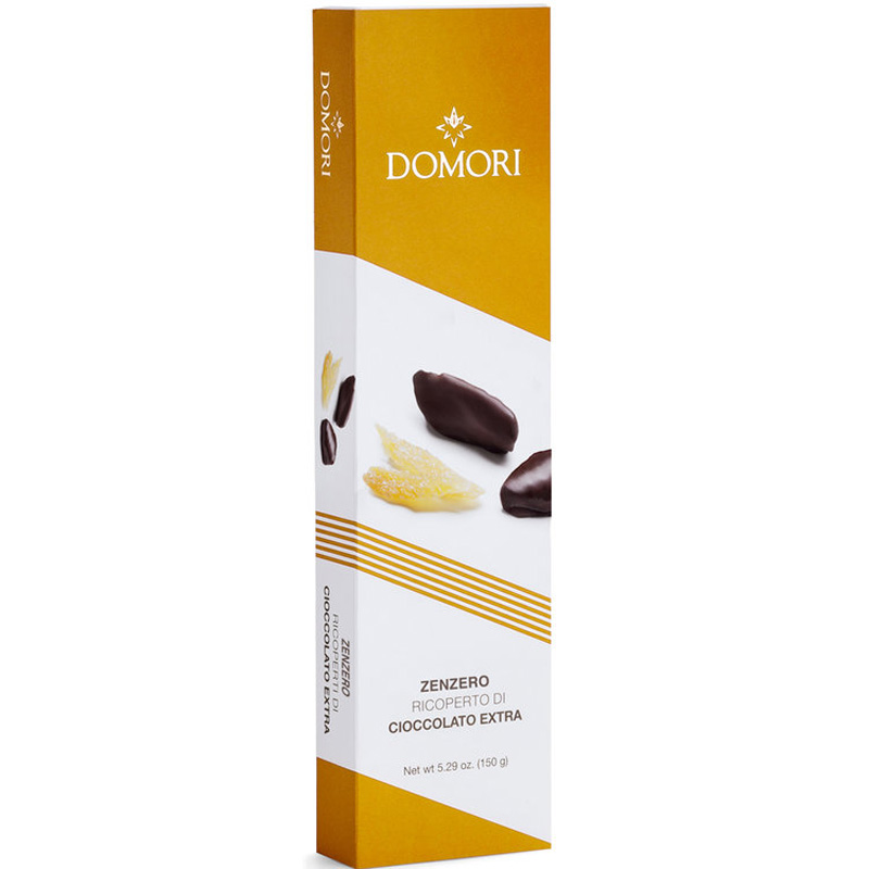 Kandiran ingver, oblit s temno čokolado Domori