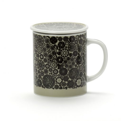 Porcelanska skodelica s cedilom Dammann Victoria, črno-siva