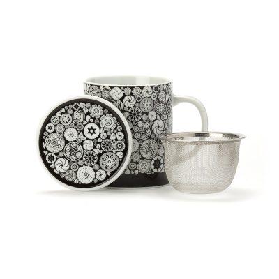 Porcelanska skodelica s cedilom Dammann Victoria, črno-bela